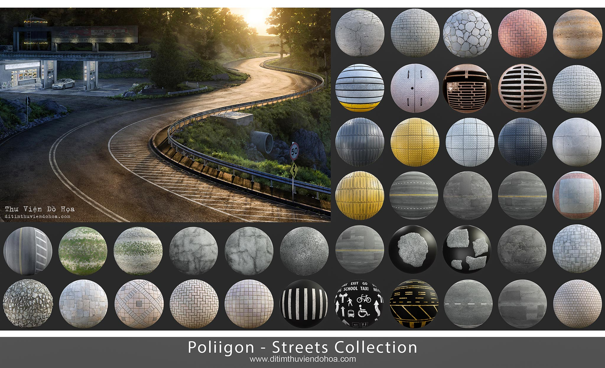 [Textures] Poliigon - Streets Collection | Maps Đường