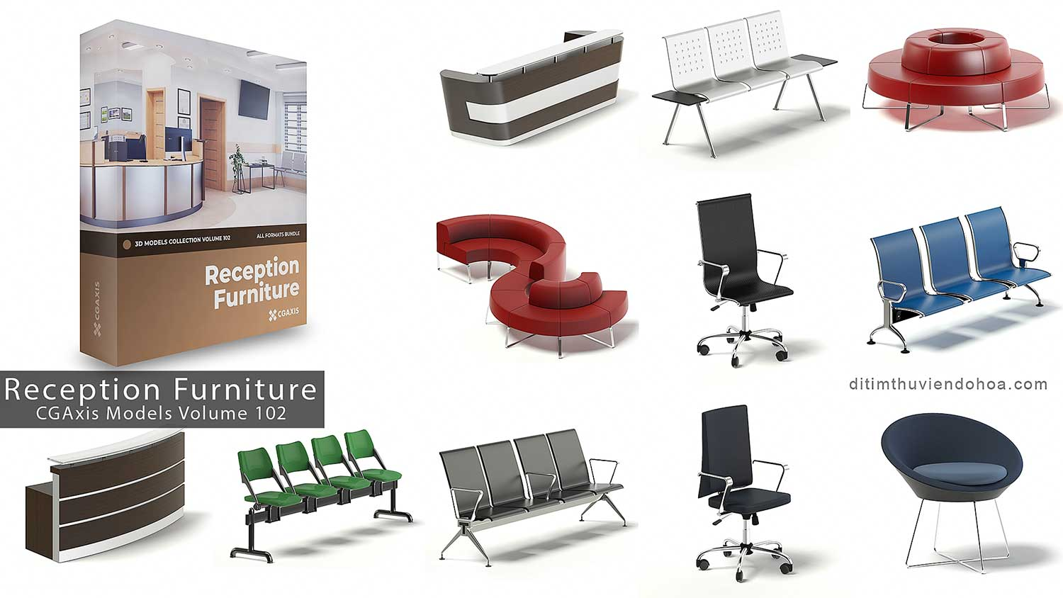CGAxis Models Volume 102-Reception Furniture