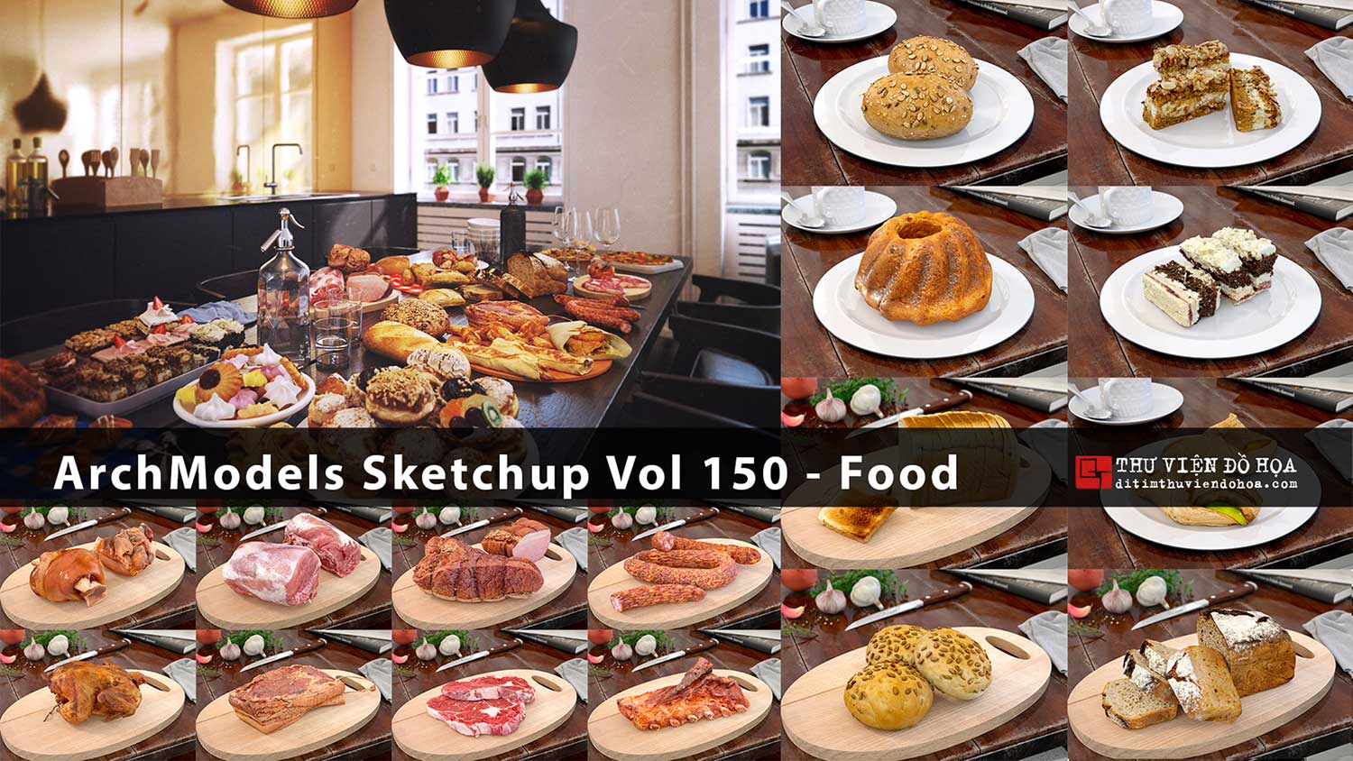 [ SketchUp Library ] Evermotion ArchModels Sketchup Vol 150 - Food